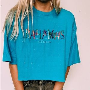 Bahamas embroidery vintage style tee